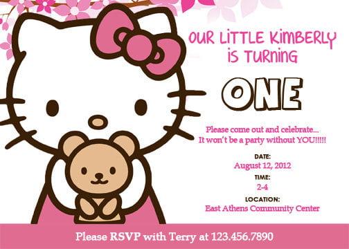 FREE Personalized Hello Kitty Birthday Invitations FREE Invitation