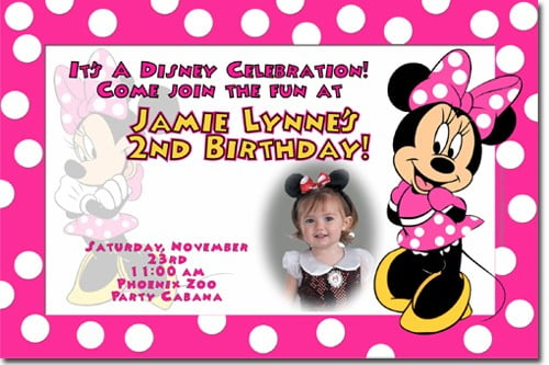 Free Minnie Mouse First Birthday Invitations Printable