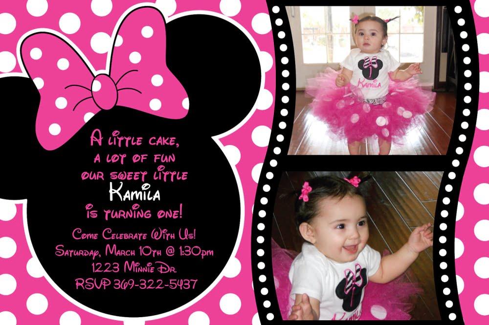 Pink And Black Polkadot Minnie Mouse 1st Birthday Invitations \u2013 FREE