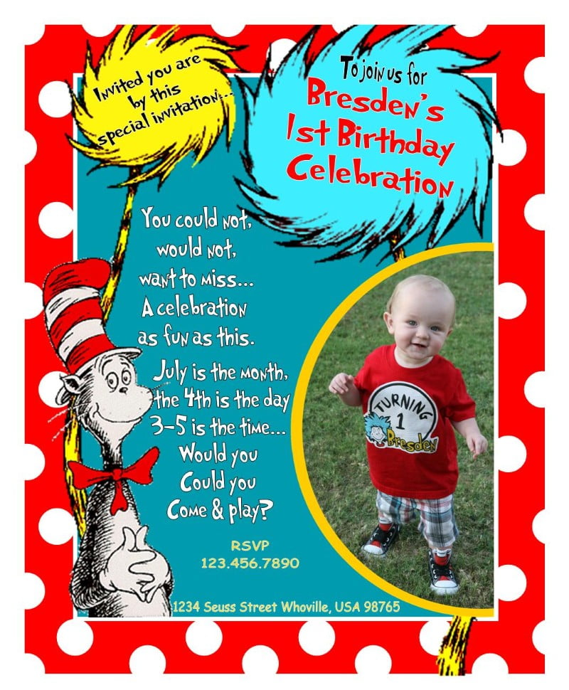 Dr Seuss Invitation Template wwe birthday invitations for your