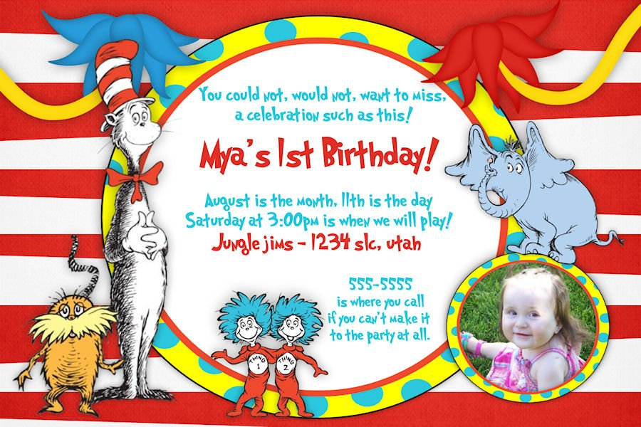 Free Printable Dr Seuss Birthday Invitations FREE Invitation