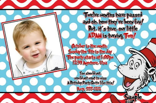 Free Printable Dr Seuss Birthday Invitations Drevio Invitations - free first birthday invitation template
