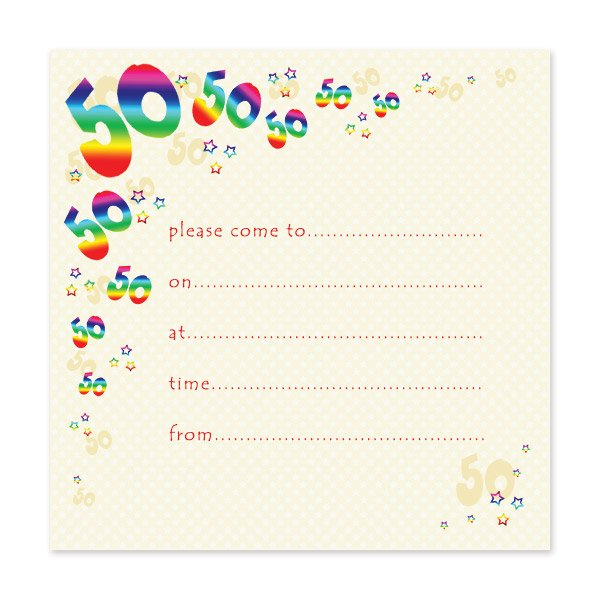 Blank 50th Birthday Party Invitations Templates FREE Invitation