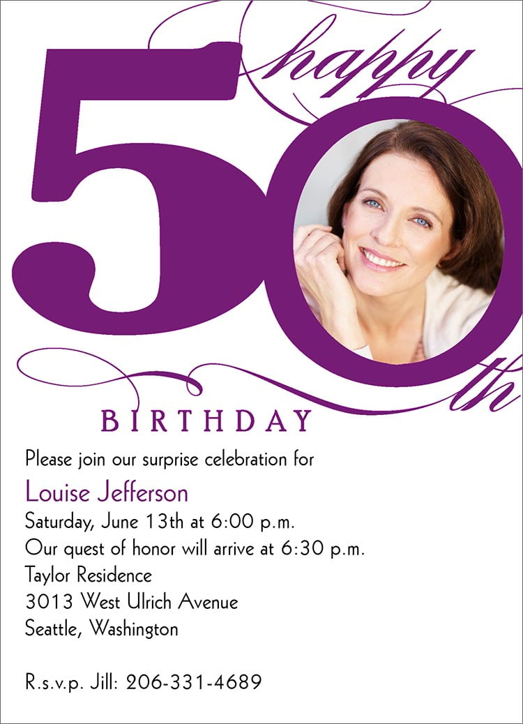 FREE Printable 50th Birthday Invitations for Women Template FREE
