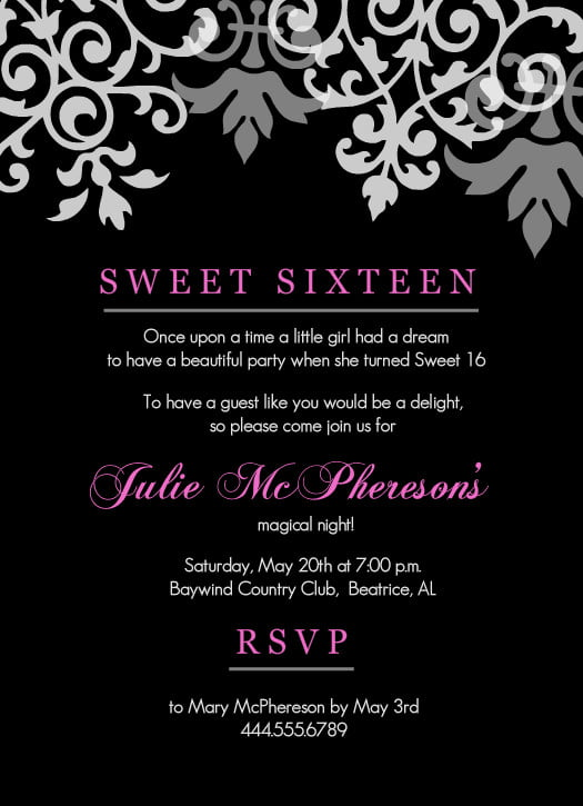 Sweet 16 Invitations Templates \u2013 diabetesmanginfo