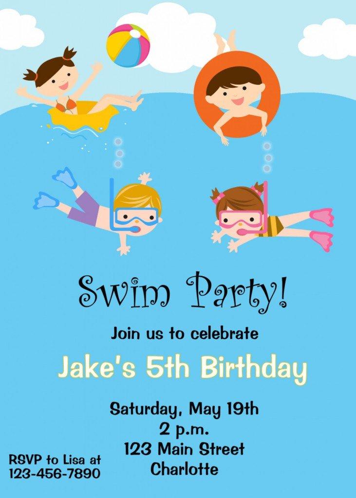 swimming party invitation template