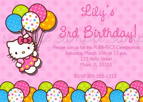 Hello Kitty Birthday Invitations Free Invitation Template FREE