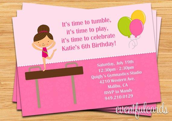 Free Printable Gymnastic Birthday Invitations Updated