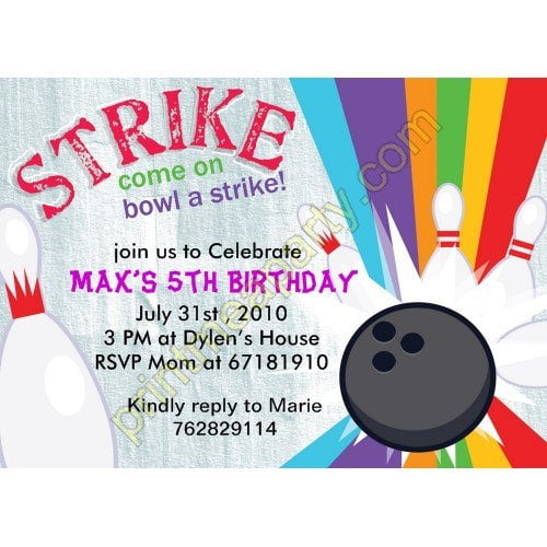 Free Printable Bowling Birthday Invitations FREE Invitation - Free Printable Bowling Party Invitations