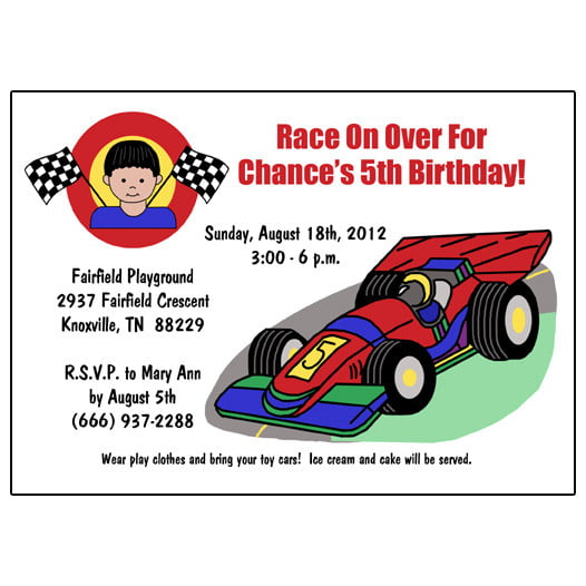 Free Printable Race Car Birthday Party Invitations Template FREE