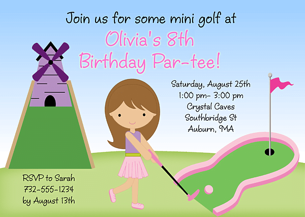 Free Printable Mini Golf Birthday Party Invitations Free