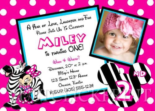 Medium Of Minnie Mouse Birthday Invitations