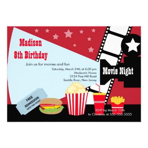 burger movie night birthday party invitations \u2013 FREE Invitation