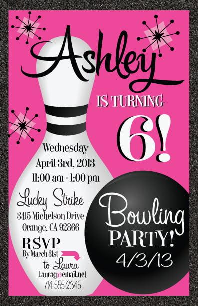 Free Printable Bowling Birthday Invitations FREE Invitation