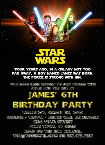 Free Printable Star Wars Birthday Invitations \u2013 Template Updated