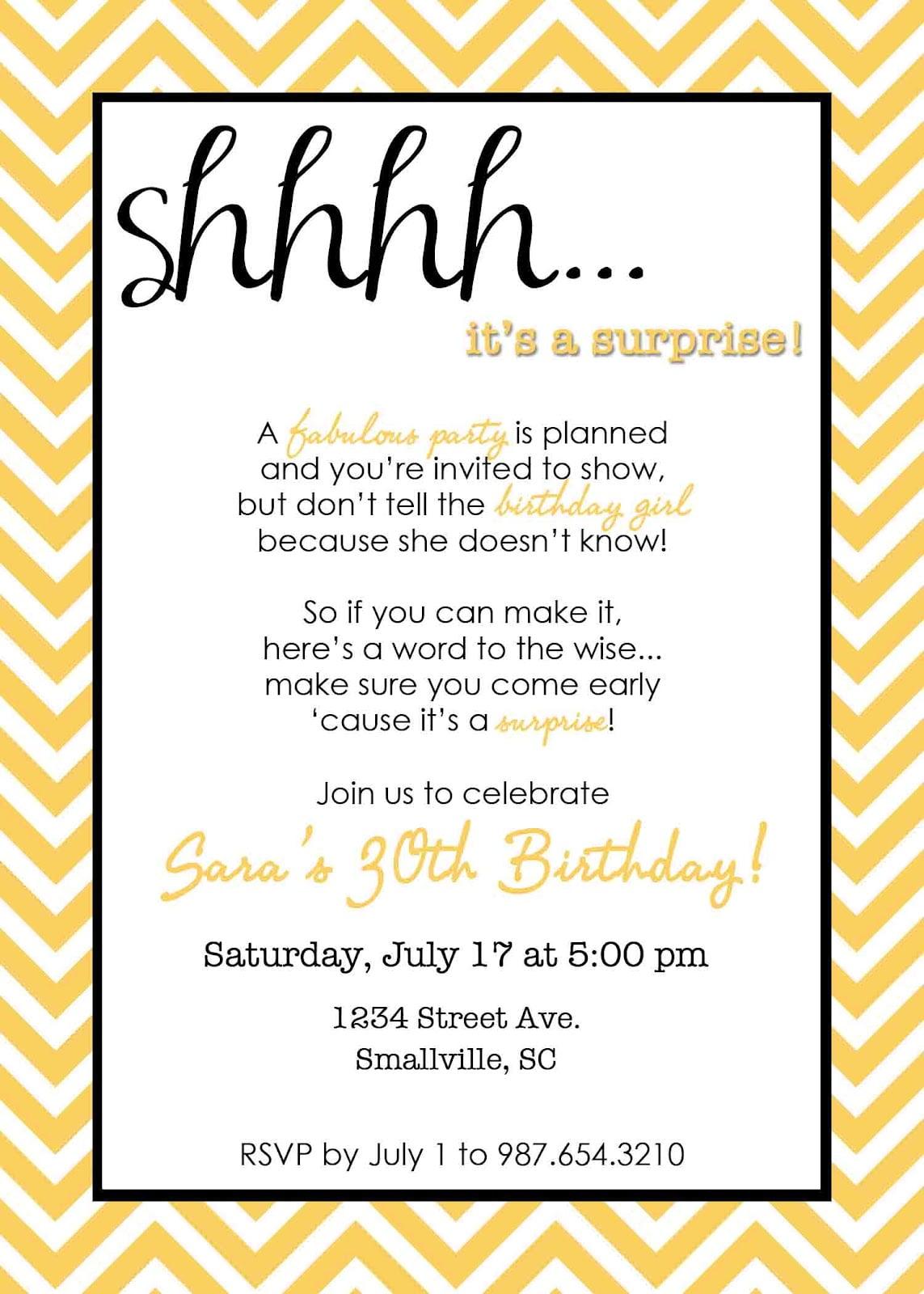 Fullsize Of Surprise Birthday Invitations