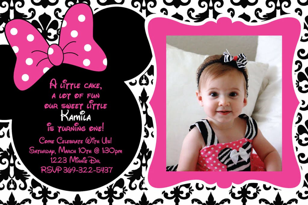 FREE Printable 1st Birthday Minnie Mouse Invitation Template - free first birthday invitation template