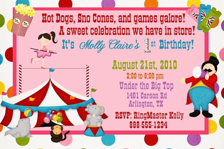 FREE Printable Circus Themed Birthday Party Invitations Drevio - circus party invitation