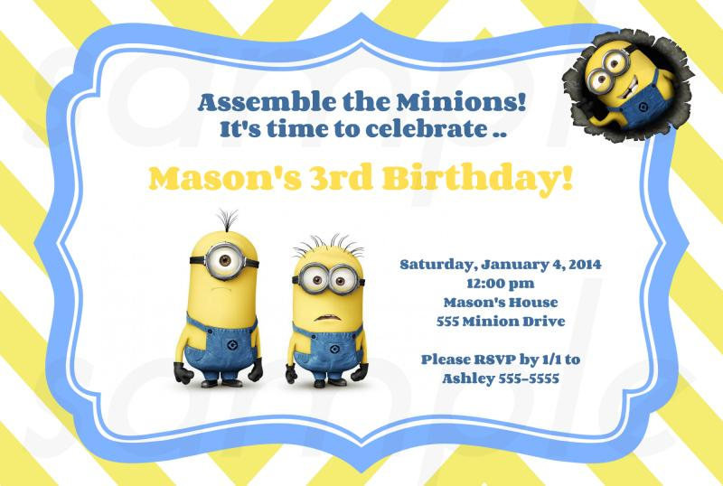 FREE Printable Minion Birthday Party Invitations Ideas Template - birthday party card template