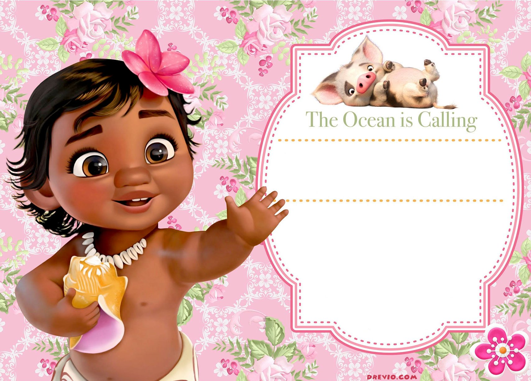 photo relating to Free Printable Moana Invitations identified as Cost-free Moana Child Shower Invitation Template - Resume Illustrations