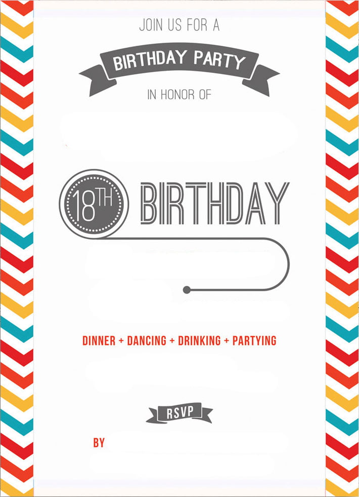 Free Printable 18th Birthday Invitation Template Drevio - free 18th birthday invitation templates