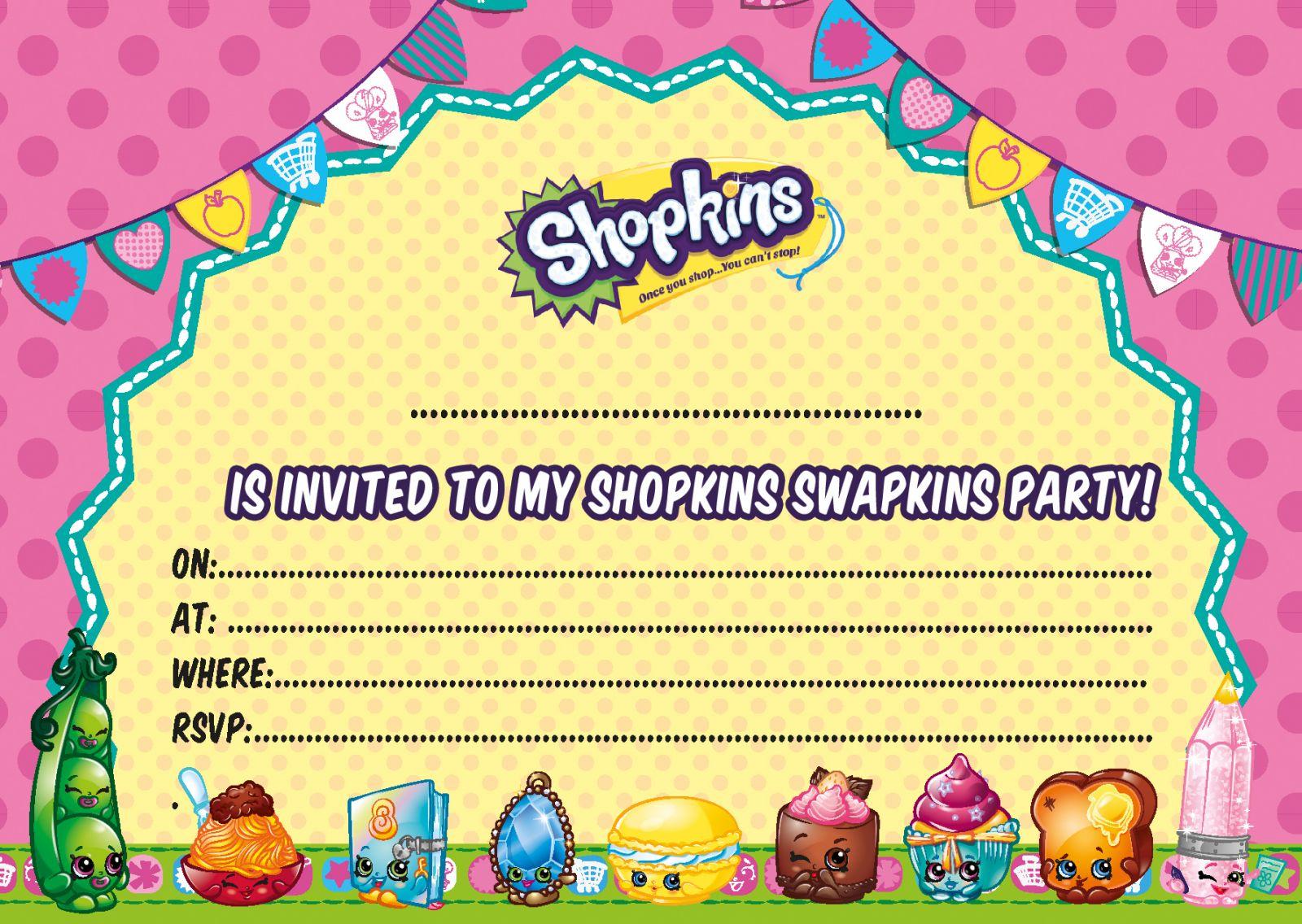 Shopkins Birthday Party Invitation Template