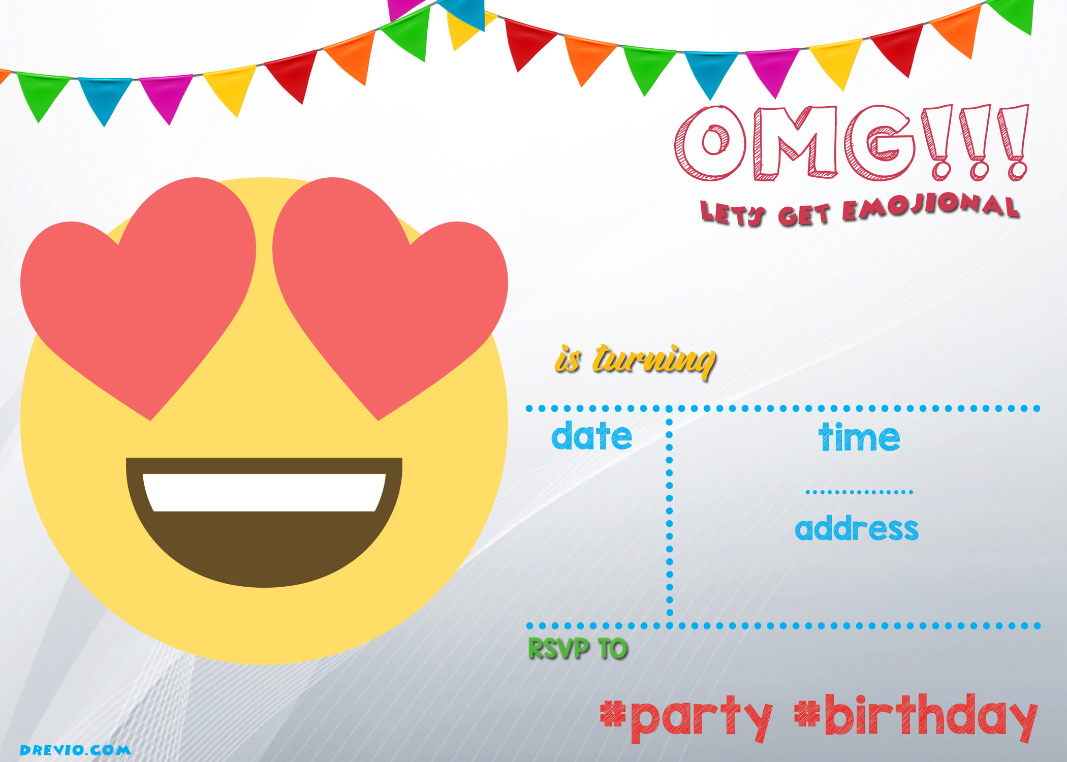 Endearing You Can Simply Download Free Birthday Invitation By Clicking Image N Download Invitation Free Printable Emoji Invitation Template Free Invitation Templates invitations Emoji Birthday Invitations