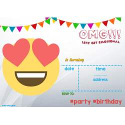 Small Crop Of Emoji Birthday Invitations