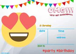 Small Of Emoji Birthday Invitations