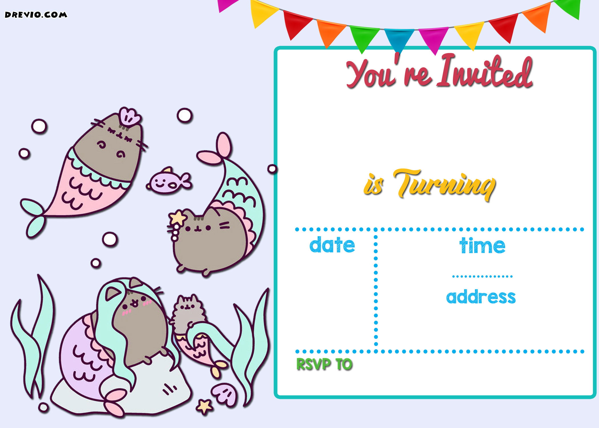 Free Mermaid Pusheen Invitation Templates Free