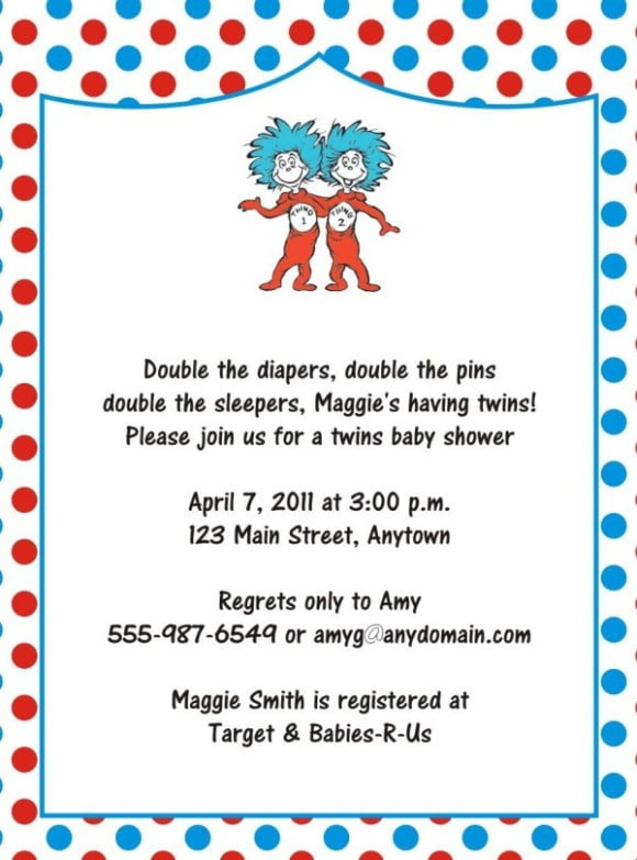 FREE drSeuss Baby Shower Invitation \u2013 PSD Template FREE