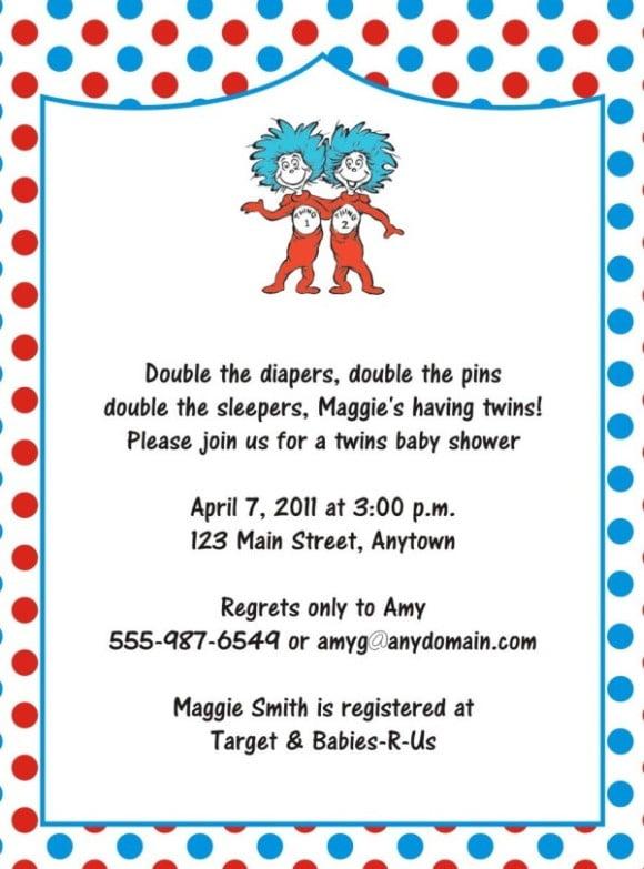 FREE drSeuss Baby Shower Invitation \u2013 PSD Template FREE