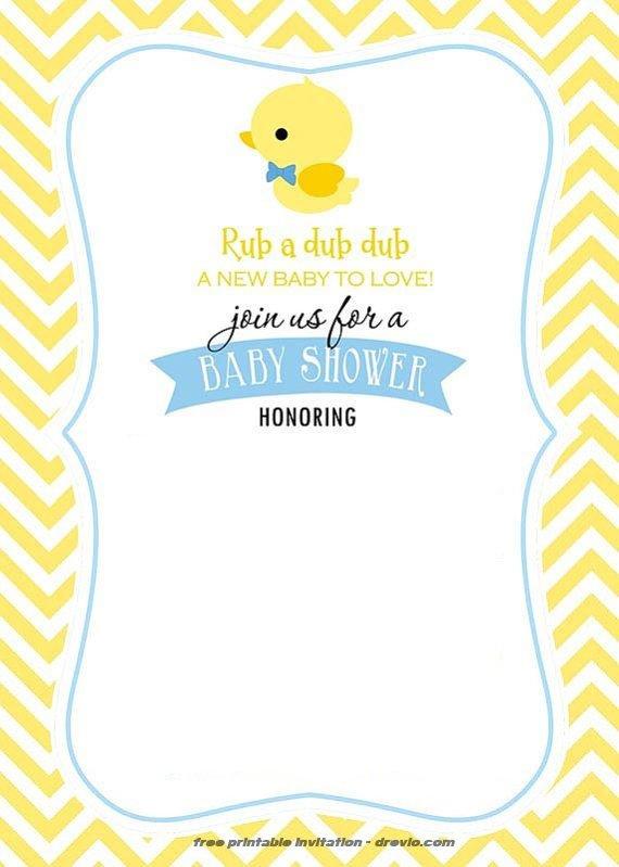 FREE Printable Rubber Duck Invitation Template FREE Invitation - baby shower invitation templates