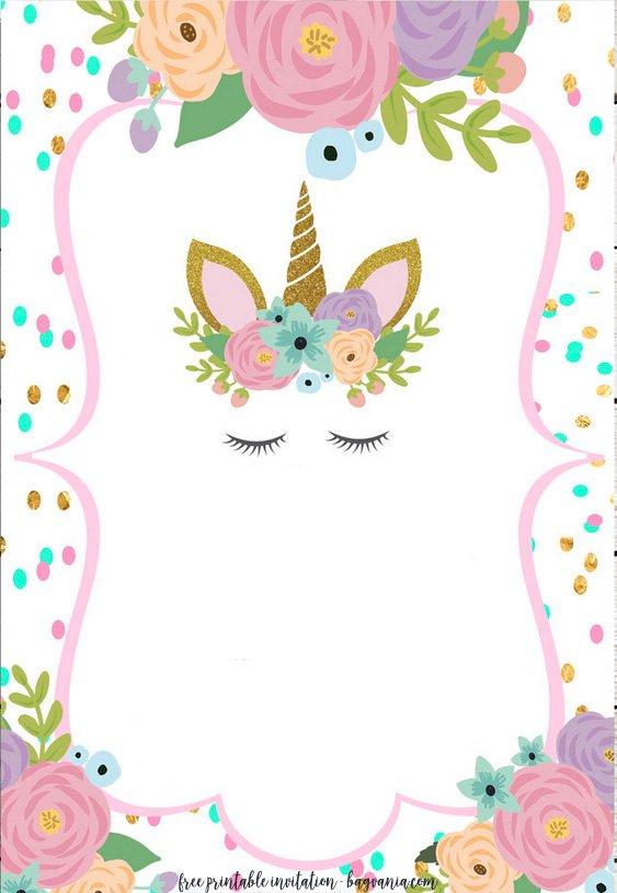FREE Printable Golden Unicorn Birthday Invitation Template FREE - unicorn template