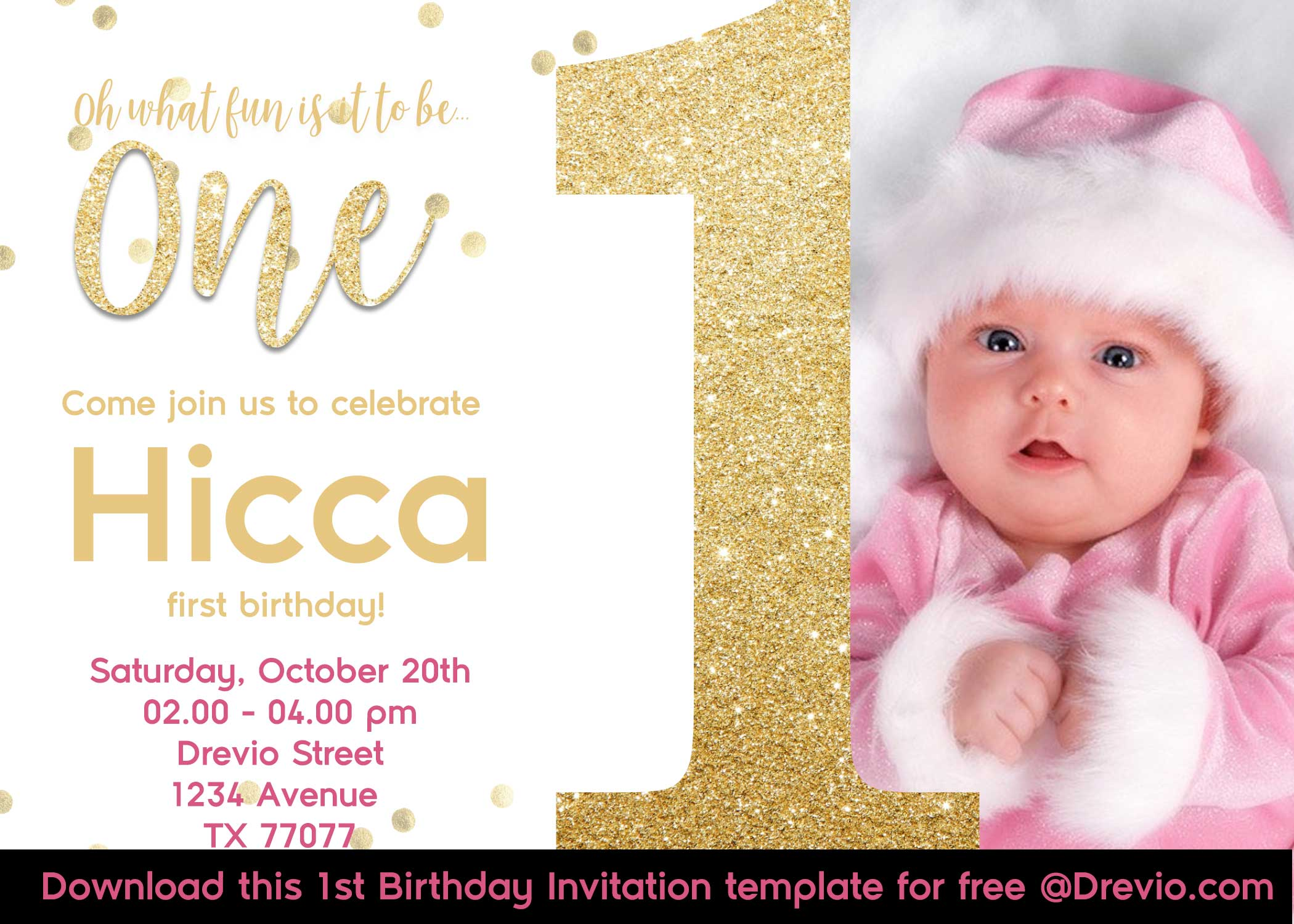 Free First Golden Glitter Birthday Invitations Templates