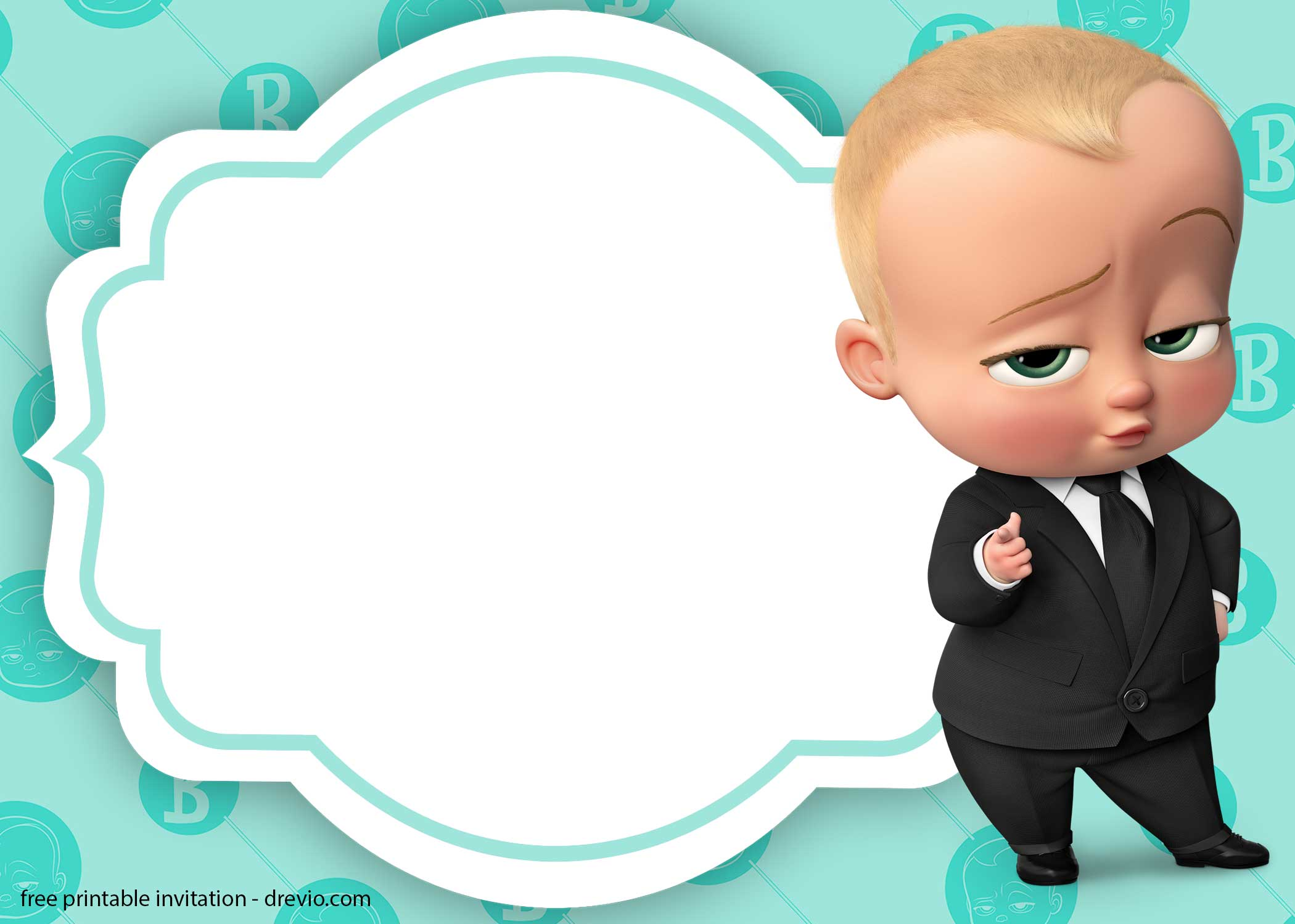 picture about Boss Baby Printable named Little one Manager Invitation Template For Your Lovable Very little