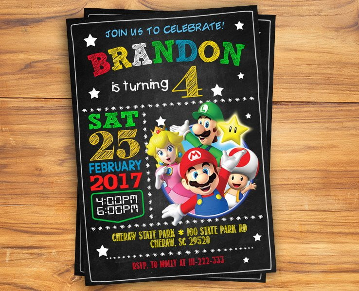 Free Super Mario Chalkboard Invitation Template Free