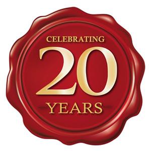 celebrating 20 years wax seal