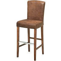 Ascot Aged Leather Bar Stool With Back Brown | Drinkstuff