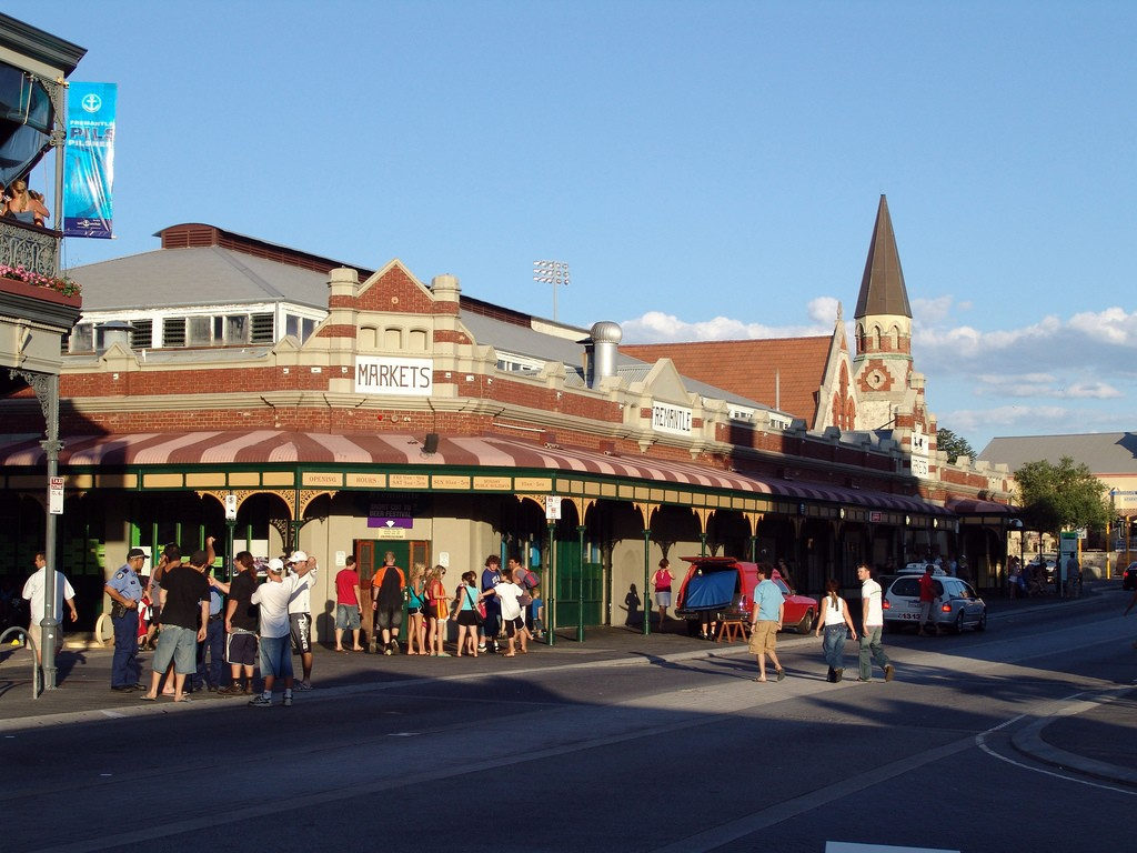 The Freemantle Markets. A large indoor market with stalls selling crafts, food, clothing, more crafts. Photo via Flickr CC matt pounsett