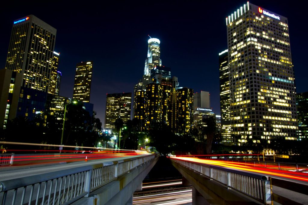 Downtown LA lights. Los Angeles, CA. Photo by Neon Tommy via Flickr CC