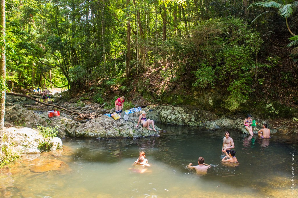 Relaxing swim in the Cougal Cascades at the Mount Cougal National Park, Queensland, Australia