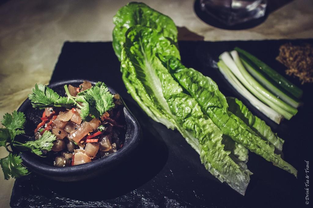 San Choi Bao (aka sashimi yellow fin tuna) from Goldfish Restaurant, Hunter Valley, NSW, Australia