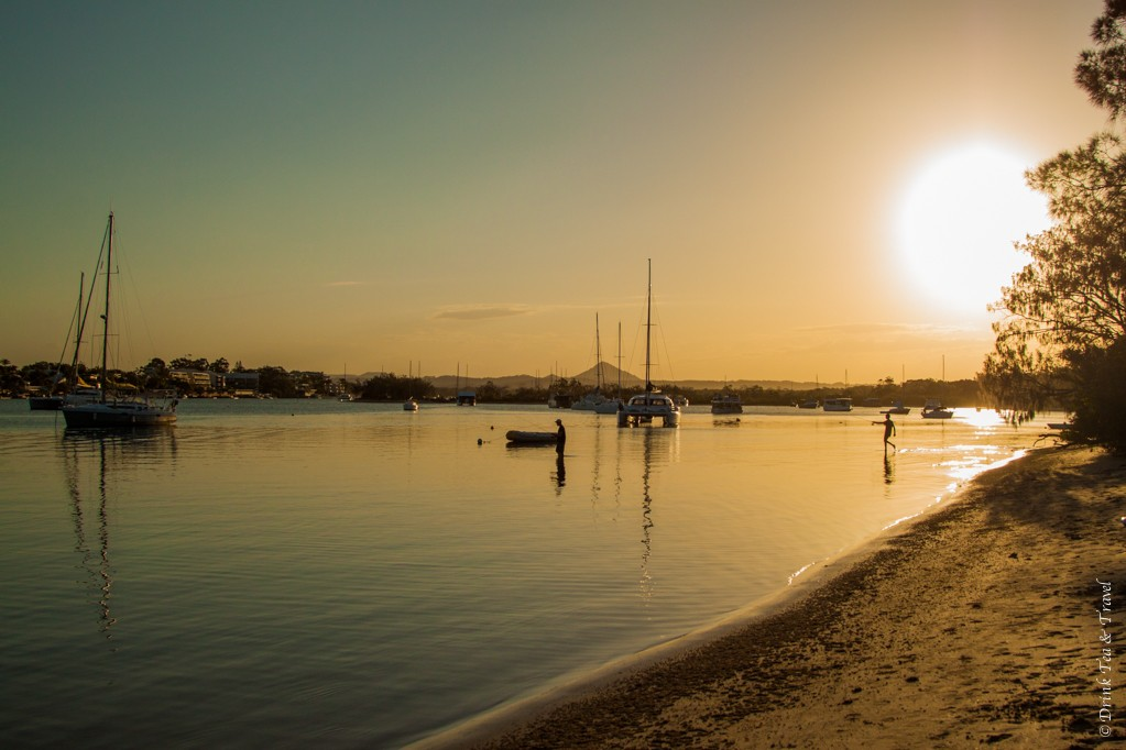 Boats at sunset in Weyba Creek, Noosa