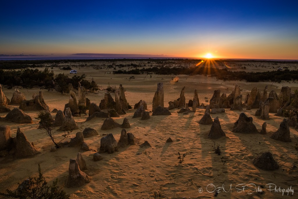 Sunset over the Pinnacles Desert in Cervantes, Western Australia