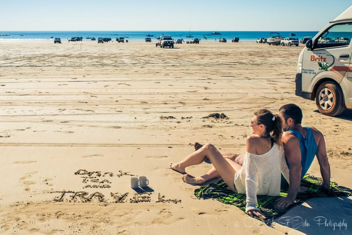 Max & Oksana tea lovers on the beach in Western Australia