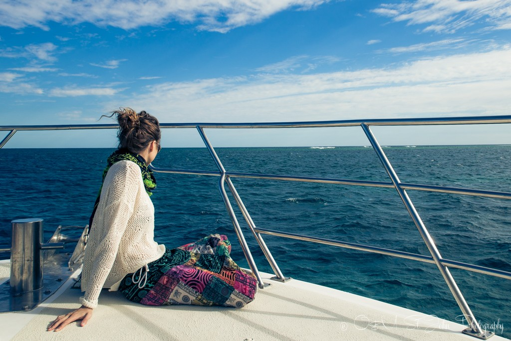 Watching the waves on the marlin board on the Magellan. Ningaloo Reef. Exmouth. Western Australia