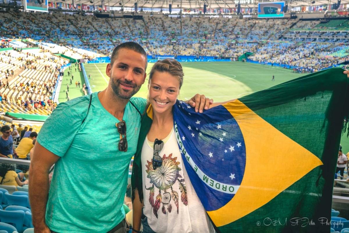 Max & Oksana cheering for Brazil at the Brazil vs Honduras Mens Football Semi Final