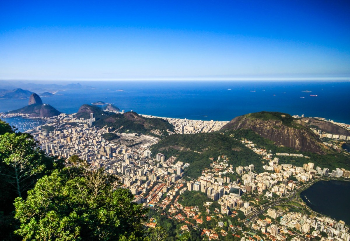View from the top of Corcovado Mountain, Rio de Janeiro, Brazil
