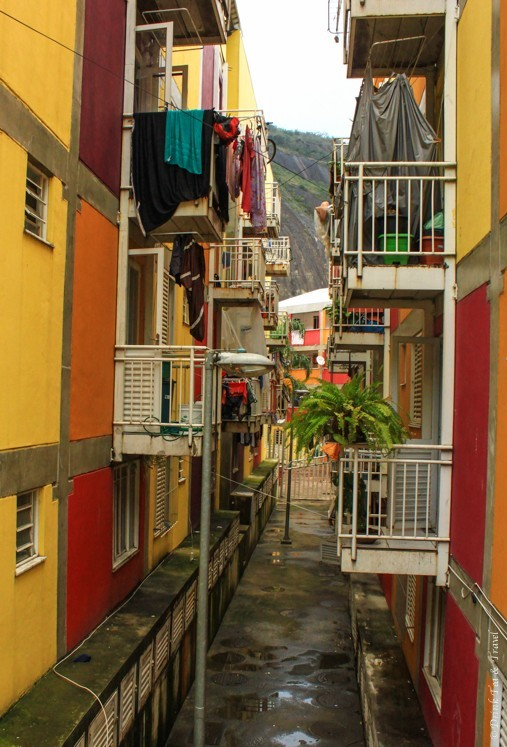 A newer building complex recently put up by the government in Rocinha, largest favela in Rio de Janeiro
